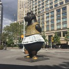 Hippo Ballerina by Bjorn Okholm Skaarup in front of the Metropolitan Opera House of New York City - Lincoln Center